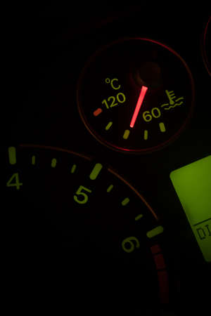 Close ups shot of the coolant temperature indicator gauge in a car. Stock Photo - 113562041