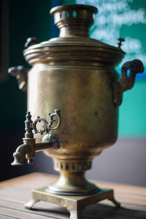 Close up shot of an old Russian samovar. Standard-Bild