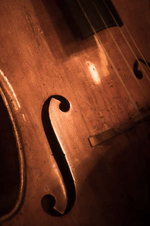 Close up shot of a double bass f hole. 写真素材
