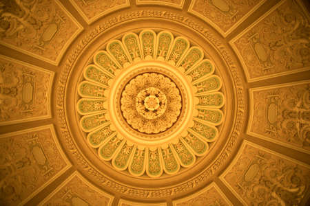Close up shot of some decorations on a round ceiling. Stok Fotoğraf