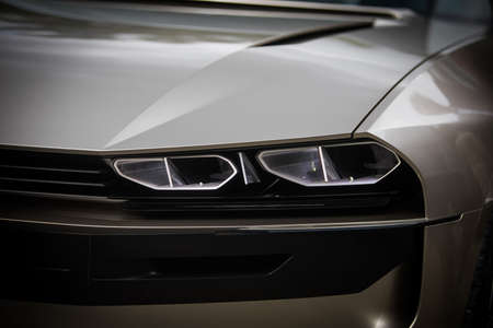 Close up shot of some LED automobile headlights. Stock Photo