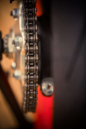 Close up shot of a motorcycle chain. Stockfoto