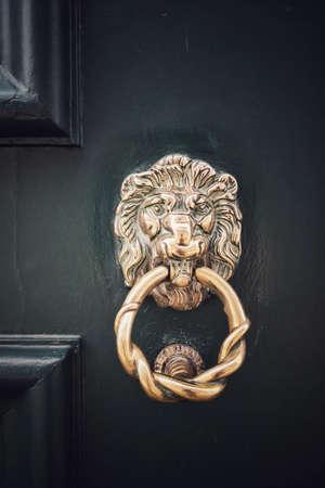 Close up shot of a lion head metal door knocker.