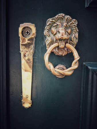 Close up shot of a lion head metal door knocker.