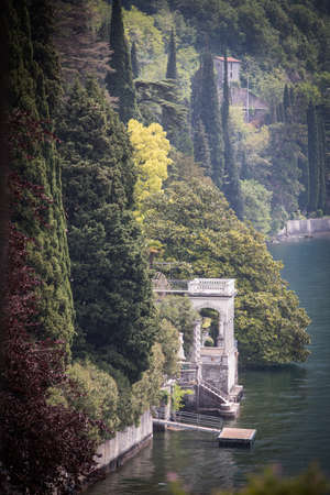 View of a pavilion of villa Monastero, on the shores of the Como lake, in Italy.