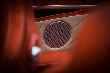 Close up shot of some speakers inside a modern luxury car.