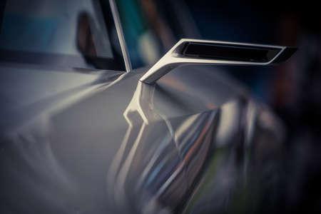 Close up shot of a sport car's side mirror. Archivio Fotografico
