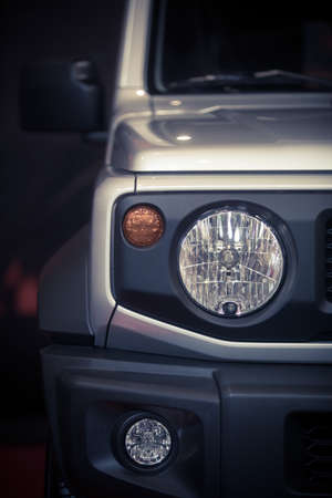 Front view of the headlight of an off road car. Reklamní fotografie