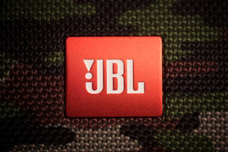 Bucarest, Romania - March 15, 2021: Illustrative editorial image of the JBL logo on a portable speaker.