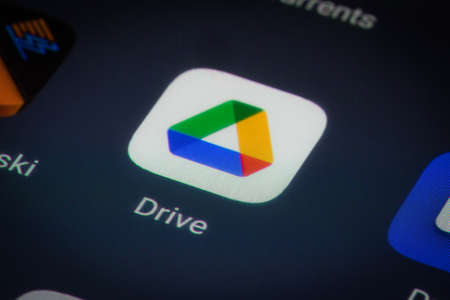 Bucharest, Romania - December 13, 2020: Illustrative editorial close up image of the Google Drive mobile app on a smartphone screen. Editorial