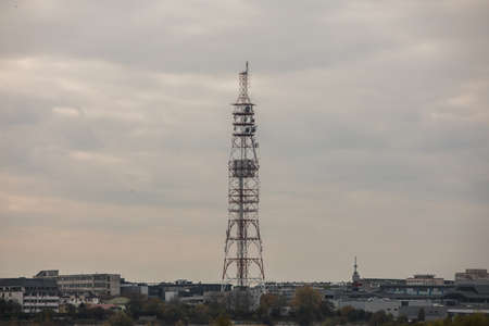 Big communication tower with a lot of GSM and internet antennas