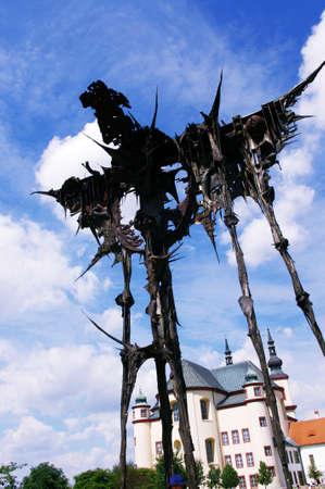 judaic: Iron sculpture means judaic prayer behind dead