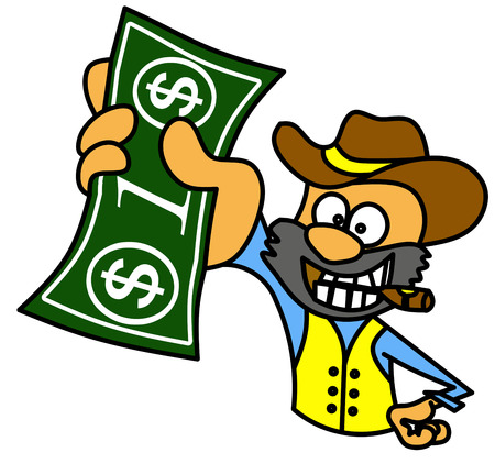 one dollar bill: Guy with cigar holding one dollar bill Illustration