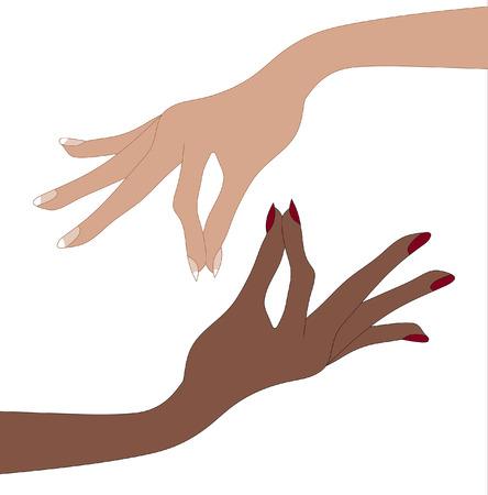 Womans hands Pinching Fingers Ilustração