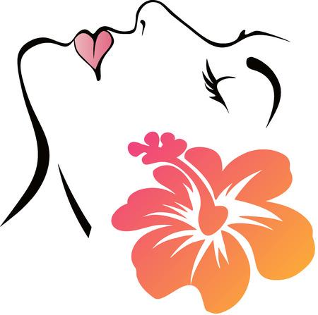 꽃과 여자 얼굴 일러스트