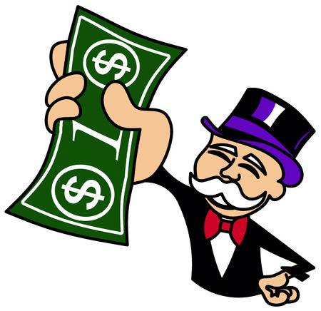 one dollar bill: Monopoly Guy holding one dollar bill
