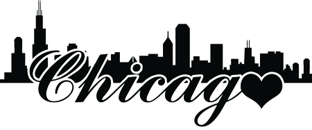 Skyline von Chicago -Love chicago Standard-Bild - 34407701
