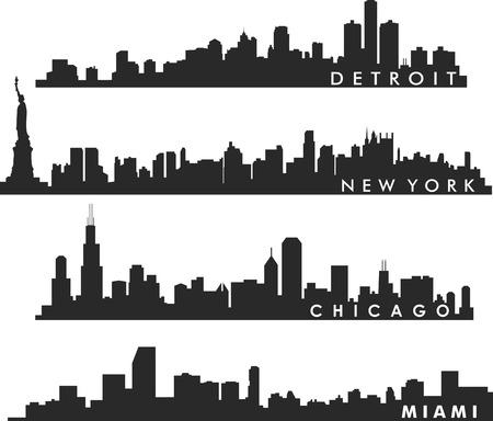 ニューヨークのスカイライン、シカゴのスカイライン、マイアミのスカイライン、デトロイトのスカイライン  イラスト・ベクター素材
