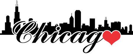 Love Chicago Vector Silhouette Stock Vector - 35071017