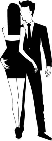 businesswoman skirt: Young elegant business couple