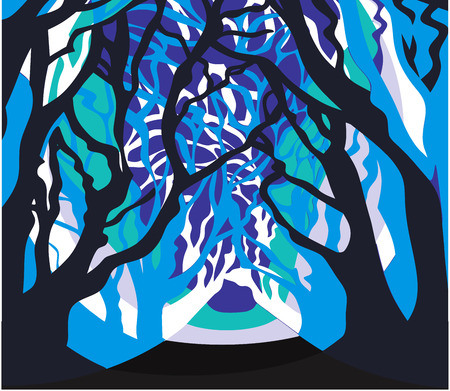 Dark forest, artsy trees branches - Abstract background Illustration