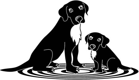 attentive: Dogs mom and poppy Labrador Illustration
