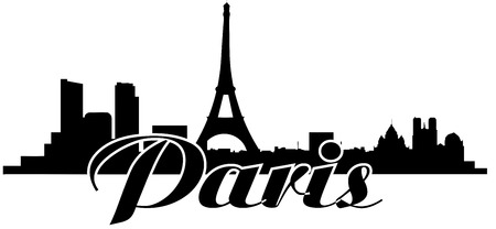 paris skyline Stock Illustratie