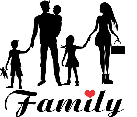 asian couple: Family parents and three kids Illustration