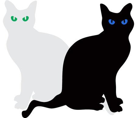 romantic: Cats Vector Illustration