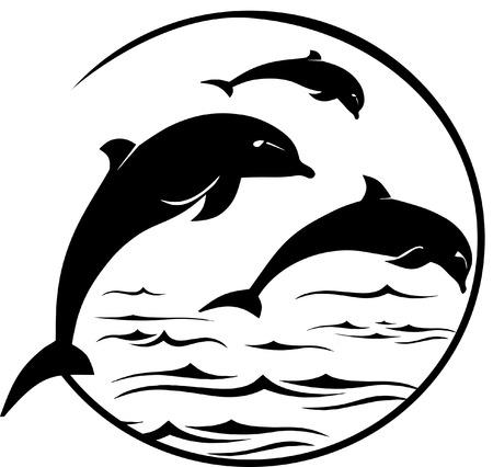 イルカのジャンプ シーン  イラスト・ベクター素材