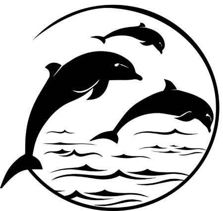 fin swimming: Jumping Dolphins Scene Illustration