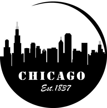 シカゴのスカイラインのロゴ  イラスト・ベクター素材
