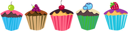 rasberry: Cupcakes With fruits Colorful Illustration