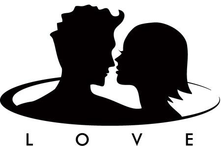 siluetas de enamorados: Pares en el amor Logo Vectores