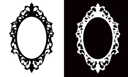 black and white frame: Vintage Oval Frame