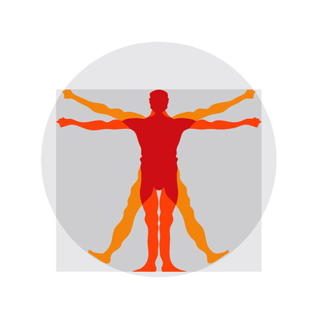 Vetruvian 男、Leonardo da Vinci による人体解剖学研究 写真素材 - 43417531
