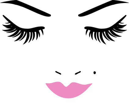 black eyes: Eyelashes and Lips Face Illustration