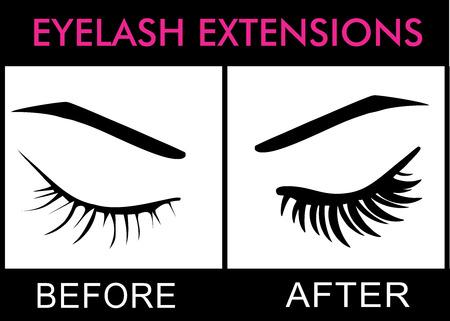 Pestañas extensiones antes y después Vectores