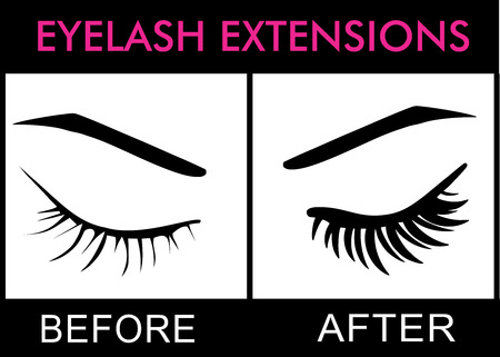 Eyelashes extensions before and after