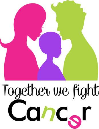 cancer awareness ribbon: Together we fight Cancer