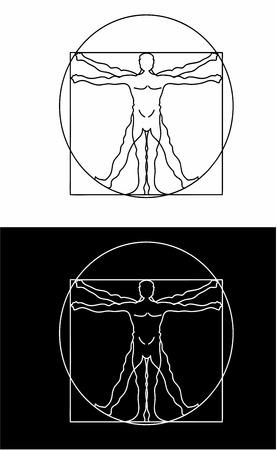 uomo vitruviano: Corpo Proporzioni Logo Vettoriali