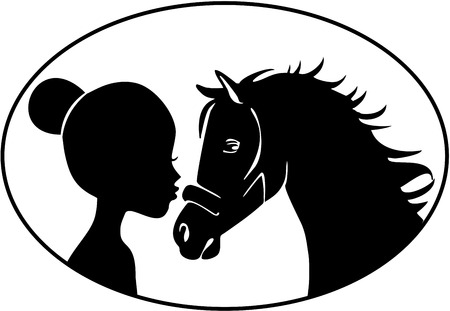 Meisje zoenen paard Stock Illustratie