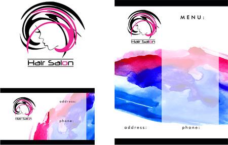 salon: Beauty Salon Logo, Business Card Design and Brochure Illustration