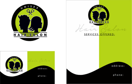 hair style fashion: Beauty Salon Logo, Business Card Design and Brochure Illustration