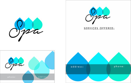 Beauty Salon Logo, Business Card Design and Brochure Illustration