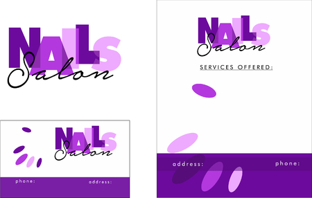 nail salon: Beauty Salon Logo, Business Card Design and Brochure Illustration
