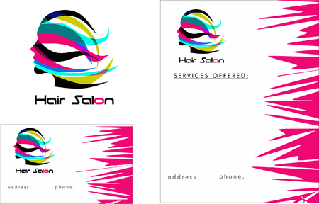 Beauty Salon Business Card Ontwerp en Brochure