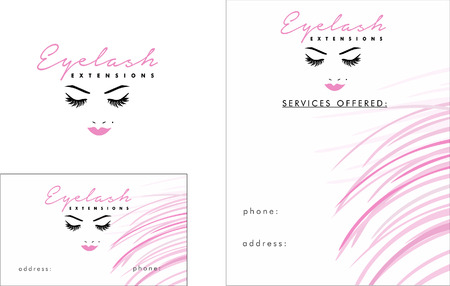 Beauty Salon, Wimper Extentions Business Card Ontwerp en Brochure