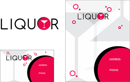 Liquor store flyer wine business card Иллюстрация