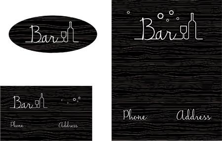 Bar, Liquor, Restaurant, Business Card Ontwerp en Brochure